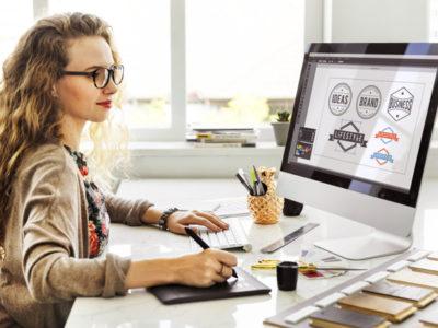 Woman Designer Interior Working Workspace Concept